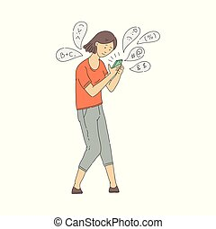 Vector young girl with phone internet addiction