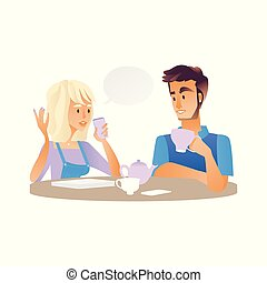 Vector young man, woman talking at cup of tea