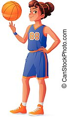 Vector young pretty basketball player girl spinning ball on finger.