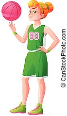 Vector young redhead basketball player girl spinning ball on finger.