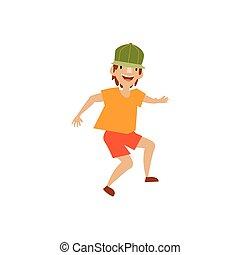 Vector young teenager in cap dances smiling