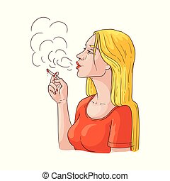 Vector young woman smoking with cigarette icon - Vector...
