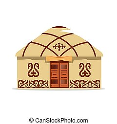 Vector Yurt Cartoon Illustration. House of Asian nomads. -...
