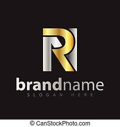 vector., złoty, nachylenie, początkowy, kolor, litera, logo, rn, srebro, ikona