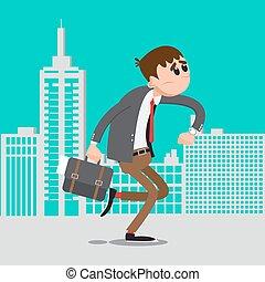 vector, zakenman, work., haast, man, laat, illustratie