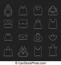 vector, zakken, set, shoppen , iconen