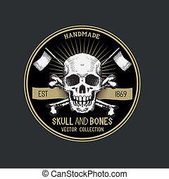 vector, zeerover, schedel, etiket