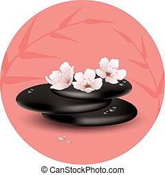 vector zen stones and cherry flowers