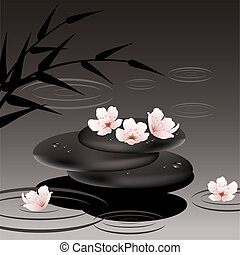 vector zen stones and cherry flowers - vector zen stones in...