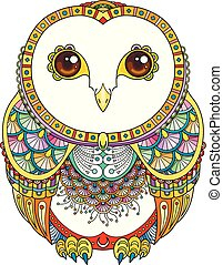 Vector zendoodle ornate owl illustration. Picture for coloring pages, printing and antistress books.