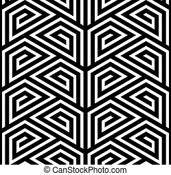 Vector ZigZag Seamless Pattern - Abstract Black and White...