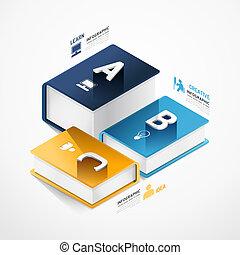 vector, zijn, boek, mal, moderne, banieren, infographic, spandoek, infographics, gebruikt, groenteblik, /, illustratie, concept