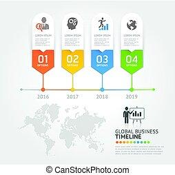 vector, zijn, communie, spandoek, zakelijk, workflow, tijdsverloop, opties, getal, gebruikt, opmaak, diagram, infographic, web, template., illustrations., ontwerp, groenteblik