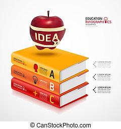vector, zijn, concept, appel, moderne, illustratie, gebruikt, /, mal, infographics, banieren, spandoek, boek, groenteblik