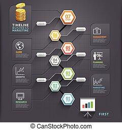 vector, zijn, gebruikt, illustration., diagram, workflow, tijdsverloop, opties, getal, opmaak, infographic, web, spandoek, design., template., groenteblik