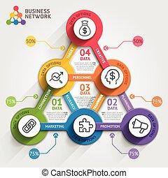vector, zijn, gebruikt, illustration., zakelijk, workflow, marketing, opties, getal, opmaak, diagram, infographic, groenteblik, tijdsverloop, template., web, elements., ontwerp, spandoek