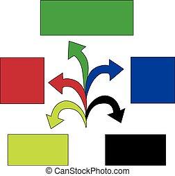 vector, zijn, gebruikt, illustration., zakelijk, workflow, marketing, opties, pijl, getal, opmaak, diagram, infographic, groenteblik, tijdsverloop, template., web, elements., ontwerp, spandoek