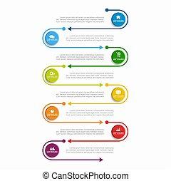 vector, zijn, gebruikt, illustration., zakelijk, workflow, opties, banner., opmaak, diagram, stap, infographic, groenteblik, template.