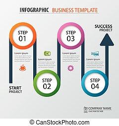 vector, zijn, gebruikt, illustration., zakelijk, workflow, tijdsverloop, opties, getal, opmaak, diagram, infographic, groenteblik, spandoek, web, template., straat, design.