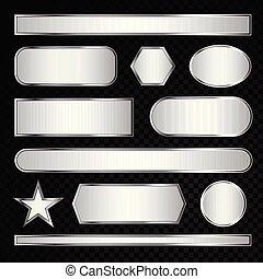 vector, zilver, verzameling, etiket
