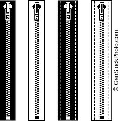 vector zipper black white symbols