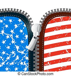 Vector Zipper Illustration with American Flag