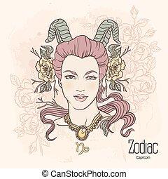vector, zodiac., capricorn.