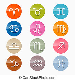 Vector Zodiac, Horoscope Circle Symbols in Retro Colors
