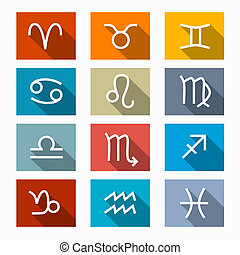 Vector Zodiac, Horoscope Rectangle Symbols in Retro Colors