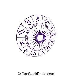 vector, zodiac, illustratie, pictogram