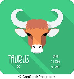 Zodiac sign Taurus icon flat design - Vector Zodiac sign ...