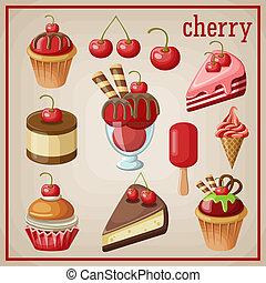 vector, zoetigheden, set, cherry., illustratie