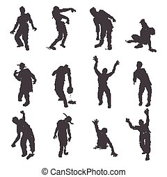 Zombie - Vector Zombie silhouettes set on white background