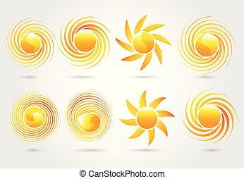 vector, zon, beeld, set, logo