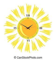vector, zon, een, illustratie, klok