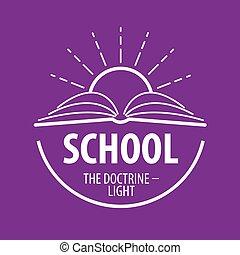 vector, zonnestralen, boek, logo