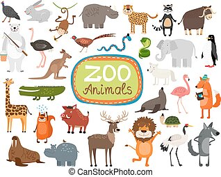 Vector Zoo Animals. Many different animals, giraffe, elephant, rhino and monkey