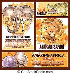 vector, zoo, bosquejo, cartel, salvaje, animal africano