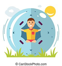 Vector Zorbing Concept. Flat style colorful Cartoon illustration.