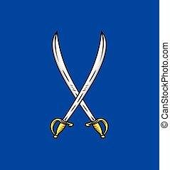vector, zwaarden, kruis, illustratie
