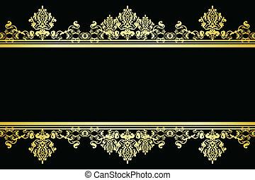 vector, zwarte en, goud, achtergrond
