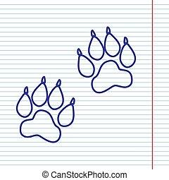 vector., zwierzę, poznaczcie., notatnik, ślady, papier, field., tło, marynarka wojenna, kreska, czerwony, ikona