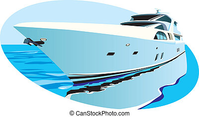 luxury yacht - Vectoral oval vignette with large luxury...