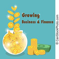 concept growing business and finance