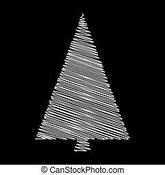 vectordesign, boompje, vrijstaand, zwarte achtergrond, krabbelen, kerstmis