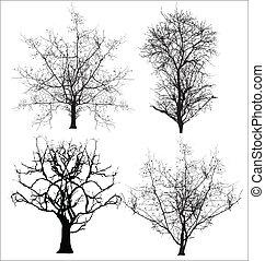 vectores, muerto, árboles