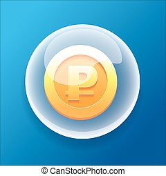 VectorGameIconBubbleGoldCoinMoneyBonusRuble - Vector Game...