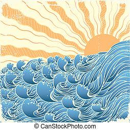 vectorgrunge, sol, ilustração, waves., mar, paisagem