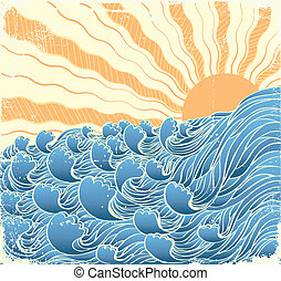 vectorgrunge, sole, illustrazione, waves., mare, paesaggio