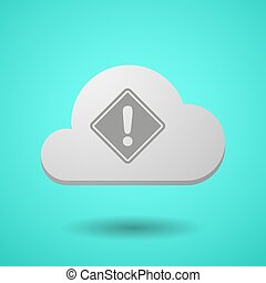 Vectorial cloud with   a warning road sign